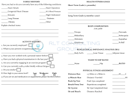 sample personal training contract hashdoc personal training fitness assessment form for women back by rlt consulting group llc
