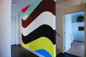 bedroom painting designs: wavy painted stripes on wall wavy painted stripes on wall wavy painted stripes on wall