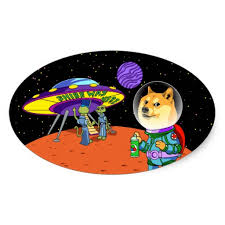 Shibe Doge Astro and the Aliens Memes Cats Cartoon Oval Sticker ... via Relatably.com