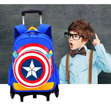 <b>New Primary School Trolley</b> Bags Captain America Anime Backpack ...
