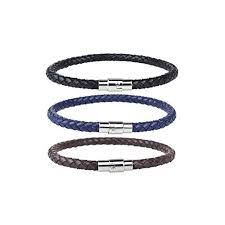 EVBEA Mens Bracelets Leather Punk Biker Men Wristband Rope ...