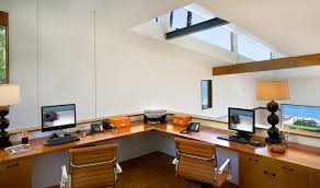 dual office desk home office contemporary with beams built in desk clerestory chic office desk