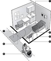 illustration showing an exam room with standard equipment and furniture plus an accessible door an accessible office space