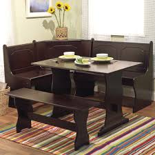 three piece dining set: this  piece breakfast nook is an all wood manufactured wood dark