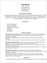 professional college football coach resume templates to showcase    resume templates  college football coach resume