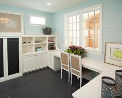 beach style home office with l shaped desk for two also white wooden chairs with brown blue white home office