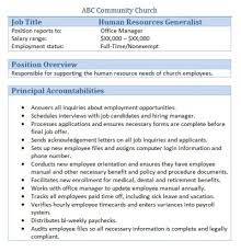 church hr generalist job description hr consultant job description