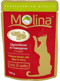 (<b>Молина</b>) - <b>Пауч</b> для кошек Цыпленок и говядина в соусе 100 г