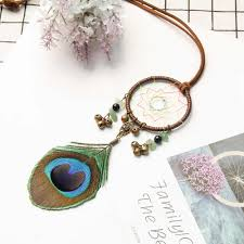 MIAMOR Small Bronze Bells Dreamcatcher With Peacock <b>Feather</b> ...