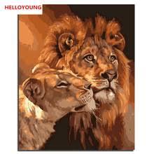 Лев тигр леопард Сделай Сам масляной Набор для <b>рисования</b> ...