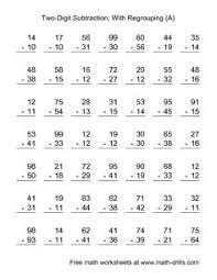Worksheets, Full name and No time on PinterestSubtraction Worksheet -- Two-Digit Subtraction with Some Regrouping -- 49…