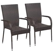vidaXL Stackable <b>Outdoor Chairs 2 pcs</b> Poly Rattan Brown– House ...
