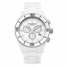 ceramic watches emporio armani ar1424 white men s ceramic chronograph watch