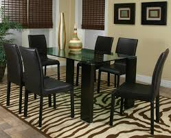 Black Leather Dining Room Chairs Trent Home Daisy Rectangular Glass Top Dining Table In Espresso