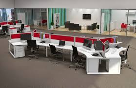 dazzling modern office design idea using unique office desk with red divider and black swivel chairs chic office ideas furniture dazzling executive office