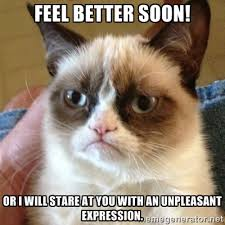 Feel Better Soon! Or I will stare at you with an unpleasant ... via Relatably.com