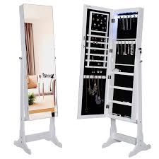 songmics lockable jewelry cabinet with frameless mirror standing jewelry armoire organizer with led light ujjc96w amazoncom antique jewelry armoire