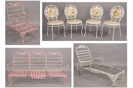 image 1 vintage wrought iron mixed patio set couch lounge antique rod iron patio