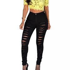 NIBESSER Women's <b>High Waist Stretch</b> Ripped Jeans Plus Size ...