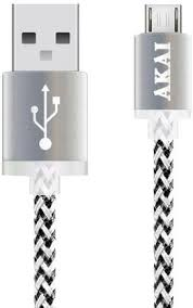 Купить <b>Кабель Akai USB</b> – <b>microUSB</b> 1m Black/Silver по выгодной ...