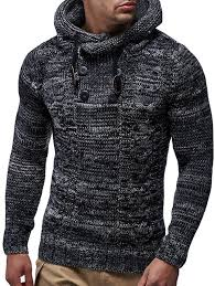 Men's Fashion Slim Hooded Sweater Half Double-breasted Knit ...