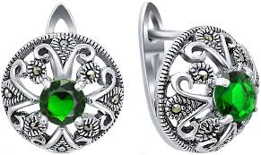 Серебряные серьги круглые <b>Silver Wings</b> 220018-282E-39 с ...