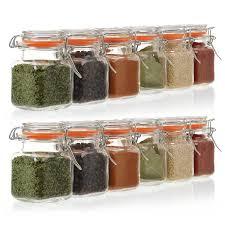 California Home Goods <b>Spice Jars</b>, Set of 24 <b>Airtight Glass</b> Bottles ...