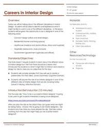 Lesson plans  Color psychology and Interior design on PinterestCareers in Interior Design Lesson Plan
