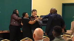 Protester in <b>Black Lives Matter shirt</b> interrupts South Bend, Ind ...