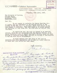 the catcher in the rye banned letter from ec harris publishers only months before the ban on the catcher in the rye