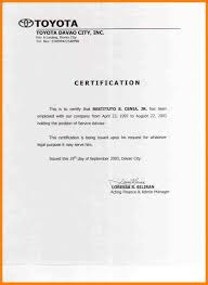 Beautiful Sample Employment Certification Gallery Best Resume
