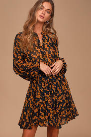 Sashay My Way Black <b>Floral Print Long Sleeve</b> Mini Dress