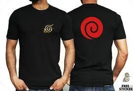 <b>Naruto Konoha</b> Logo T shirt Gold <b>Print Anime</b> Manga Black White ...