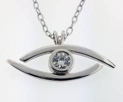 """""""All Seeing Eye"""" - <b>Pure</b> Silver Pendant Dipped In <b>18K White Gold</b> ..."""