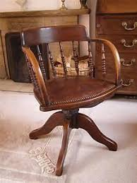 1910 edwardian oak and leather captains swivel office desk chair love the patina antique leather swivel desk chair