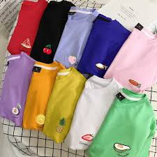 Summer Fruit <b>College Wind Pure</b> Cotton Korean <b>Clothes</b> Women T ...