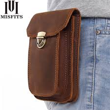 MISFITS 2019 NEW <b>Genuine Leather Vintage</b> Waist Packs Men ...