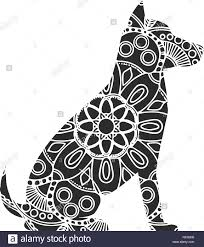 <b>Dog</b> Ornaments. Animal drawing with floral ornament decoration ...