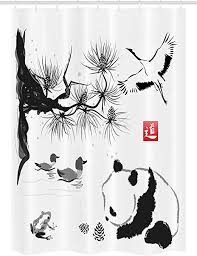 Ambesonne Asian Stall Shower Curtain, Bird Cedar <b>Panda</b> Bear ...