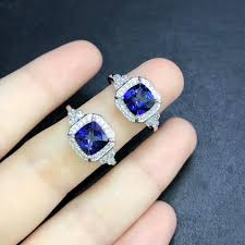 <b>DJ CH Fine</b> 925 Sterling Silver <b>Jewelry</b> Square Tanzanite Blue ...