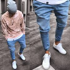 2019 <b>Men's Stretchy Ripped Skinny</b> Biker Jeans Destroyed Slim Fit ...
