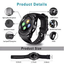 LEEHUR <b>V8 Bluetooth</b> Smart Watch Band <b>Touch Screen</b> Wristband ...