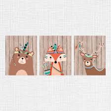 <b>Tribal</b> nursery decor, <b>tribal animals</b> nursery art, <b>Bear</b>, <b>Fox</b>, Fawn ...