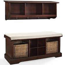 Wood <b>2 Piece</b> Entryway <b>Bench</b> And Shelf <b>Set</b> In Mahogany Brown ...