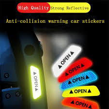 <b>4pcs Car</b> door safety anti collision warning reflective stickers <b>OPEN</b> ...