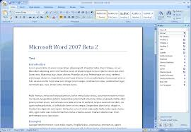 quick review of microsoft office word view from the potting screenshot of word 2007 beta 2