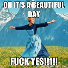 OH IT'S A BEAUTIFUL DAY FUCK YES!!1!! - Sound Of Music Lady | Meme ... via Relatably.com