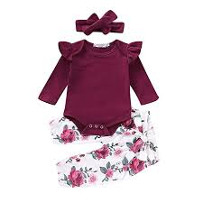 3PCS Infant Toddler Baby Girl Clothes Ruffle Romper ... - Amazon.com