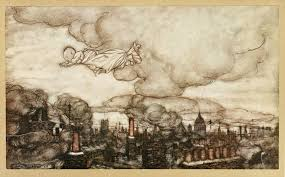 j m barrie peter pan in kensington gardens peter pan away he flew right over the houses to the gardens