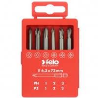 <b>Набор бит Felo</b> Profi <b>PH</b>/PZ 73 мм 6 предметов в кейсе, цена ...
